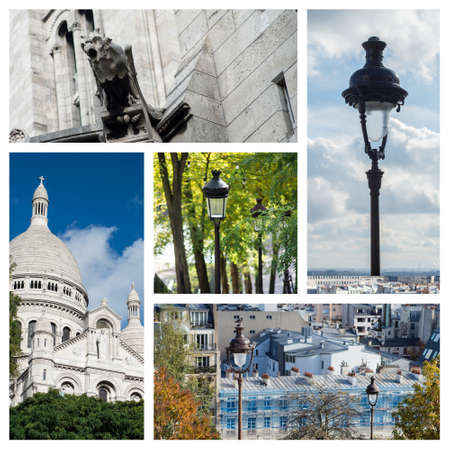Collage of various view in Montmartre quarter in Paris - France Stockfoto