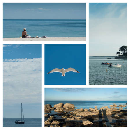 Collage of Various view of seascape  landscape in Quiberon - France