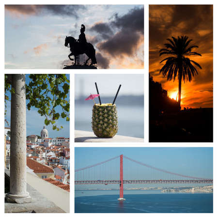 Collage of various cityscape of Lisbon - Portugal