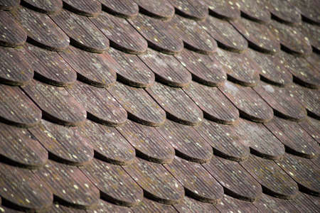 Closeup of traditional tiles of the roof of alsatian house