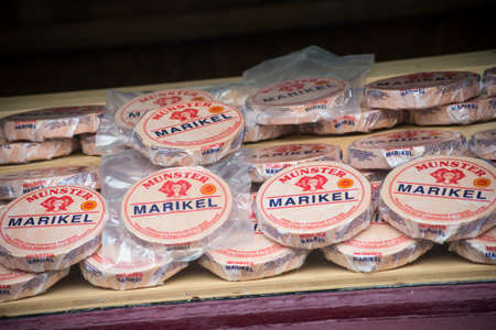 Ribauville - France - 18 February 2021 - Closeup of typical Munster by Marikel brand, the falous french cheese in a traditional store showroom