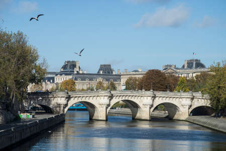 view of the new bridge on the seine river in paris