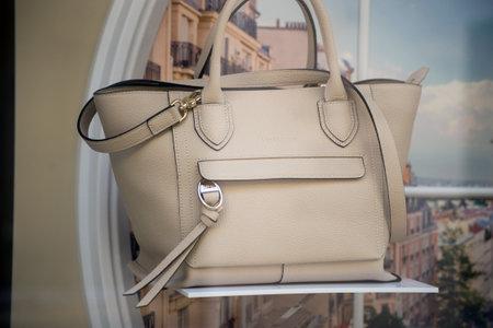 Mulhouse - France - 21 February 2021 - Closeup of beige leather handbag by longchamp in a luxury fashion stone