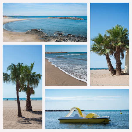 Collage of various view of Valras beach in south of France