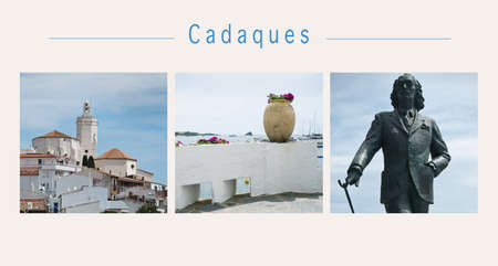 Collage of various view of the famous village of Cadaques in Spain Stockfoto