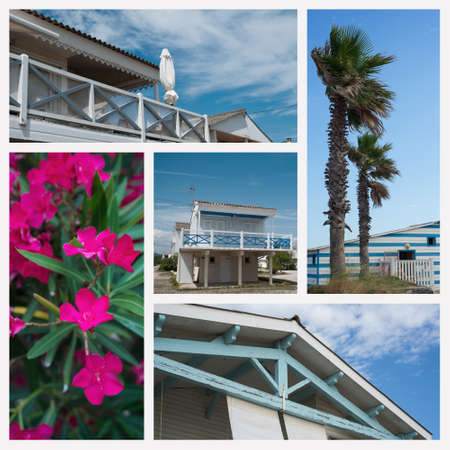 Collage of various views of Gruissan in France Stockfoto