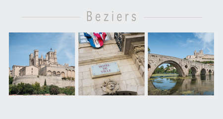 Collage of various view of the city of Beziers in south of France