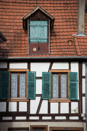retail of traditional alsatian facades of medieval house in a french village