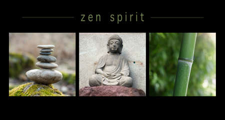 collage of various view of nature zen concept