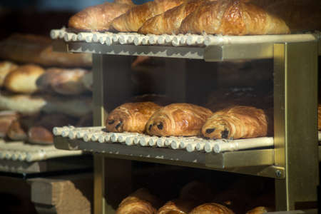 closeup of french chocolatine in bakery Stock Photo