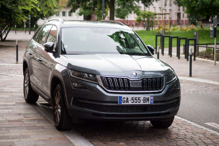 Mulhouse - France - 14 July 2021 - view of grey Skoda Kodiaq SUV car parked in the street