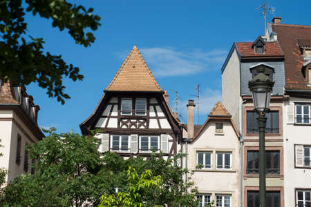 Closeup of medieval architecture in Strasbourg - France