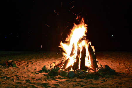 bonfire night: Bonfire on a beach at night