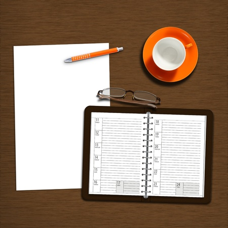 open diary: work desk with notebook, plain paper and coffeecup Stock Photo