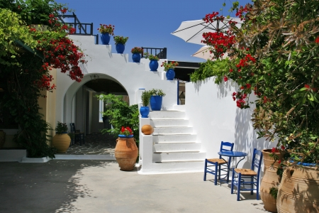 rhodes: beautiful typcial greek tavern, rhodes island, greece