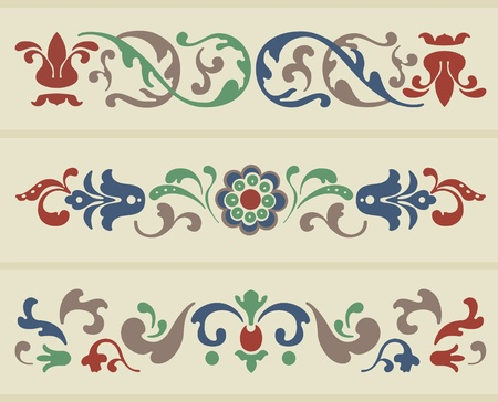Traditional Russian Ornament in three versions Vector