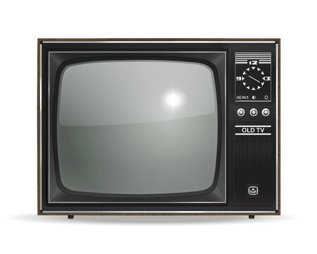Vintage, old, photo-realistic CRT TV in vector Vector