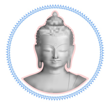 Grayscale image of a Buddha in the curly frame Vector