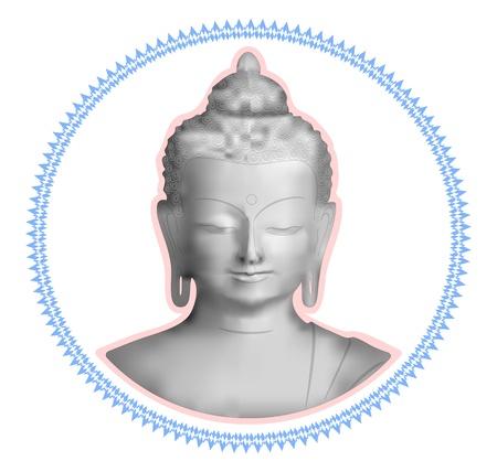 indian yoga: Scala di grigi immagine di un Buddha nella cornice ricci Vettoriali