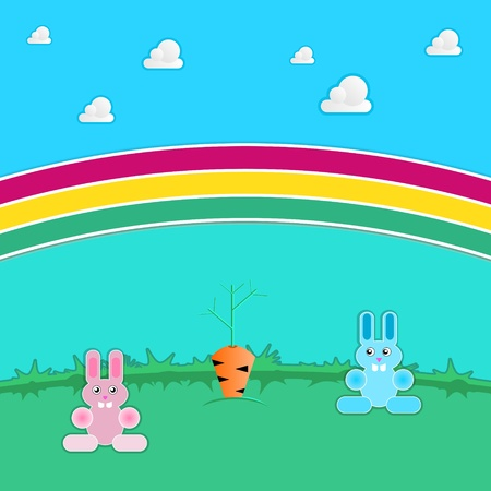 Two rabbits in a meadow under a rainbow Stock Vector - 10952062