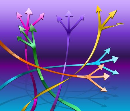 intersecting: Intersecting paths with arrows leading in different directions