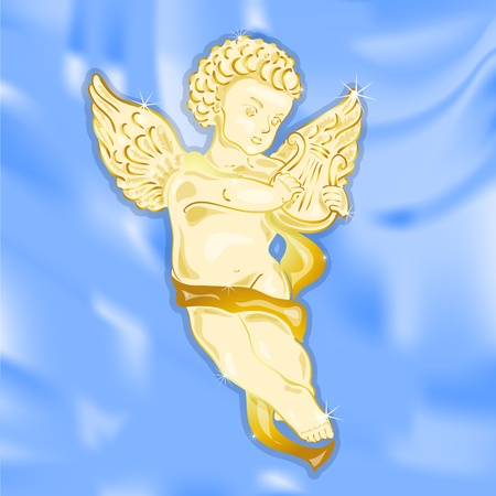 Golden angel on the beautiful azure background Stock Vector - 11196471