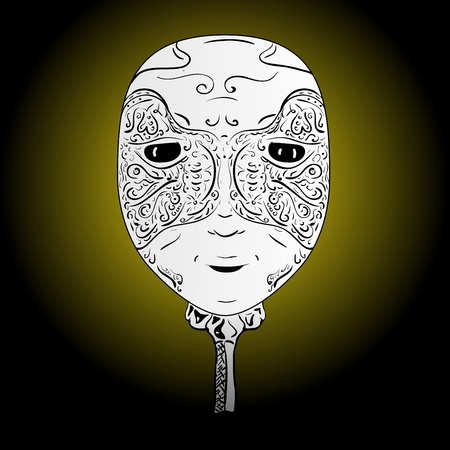 A mask with a handle, floral patterns and bright eyes Vector