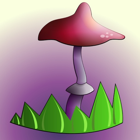 Purple Mushroom by sunlight in the green grass Stock Vector - 11534060