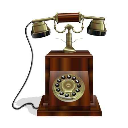 Vintage Telephone with wooden body and a gold tube Stock Vector - 11593287