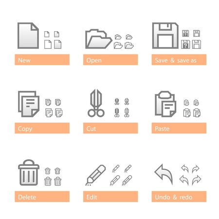 Universal software icon set. Icon sizes are adapted to three dimensions Stock Vector - 11593295