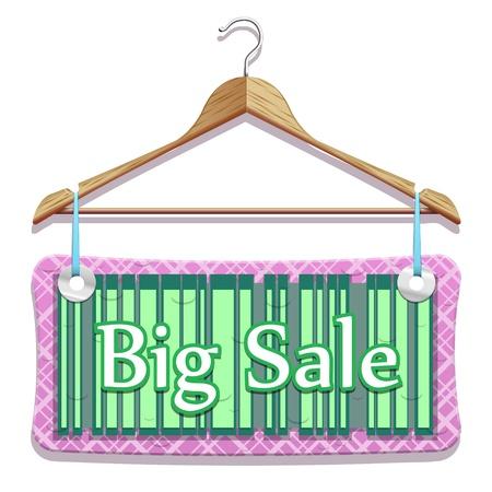 削減: 美しいベクトルで大きな販売服をハンガー