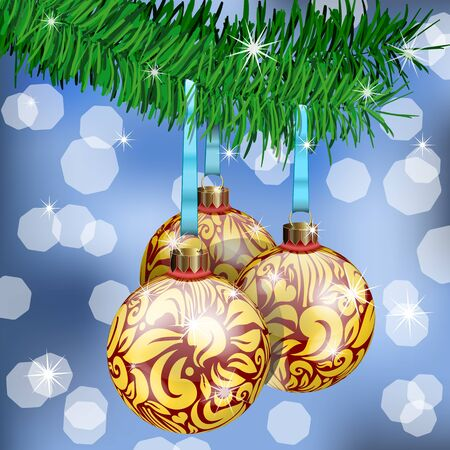 The Realistic Christmas Balls on fir branches Stock Vector - 11674577