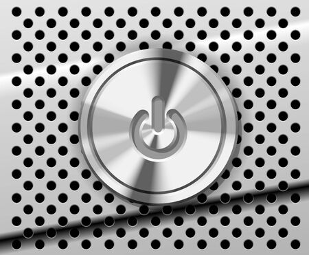 The Power Button on the perforated metal background Vector