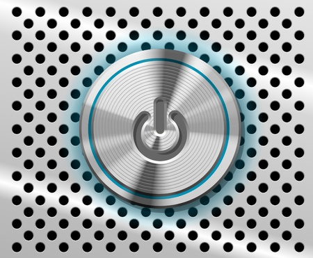 The highlighted Power Button on the perforated metal background Stock Vector - 11674299
