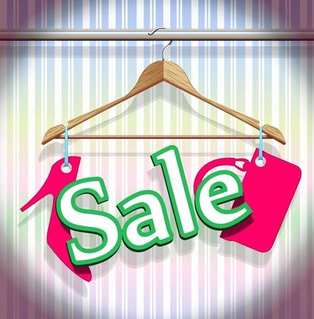 tienda de ropas: Perchas de venta de ropa en un vector hermosa