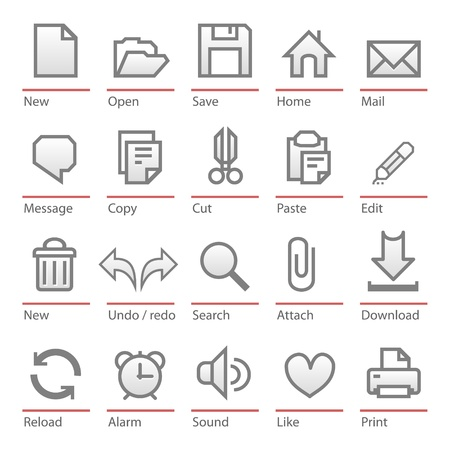 Universal software icon set Illustration