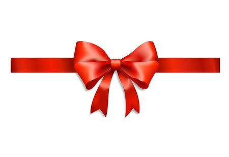 red ribbon and bow isolated on white Stock Vector - 11978402
