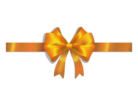 gold ribbon and big bow on white Stock Vector - 11978406