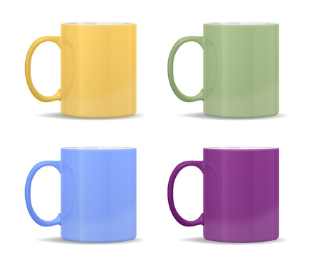 mugs of different colors Stock Vector - 12107750