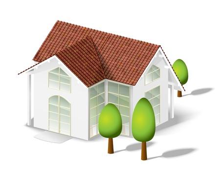 tile roof: bianco, modello di casa