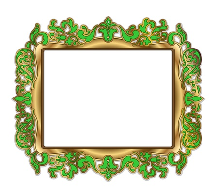 baroque picture frame: Gold green frame over white background Illustration