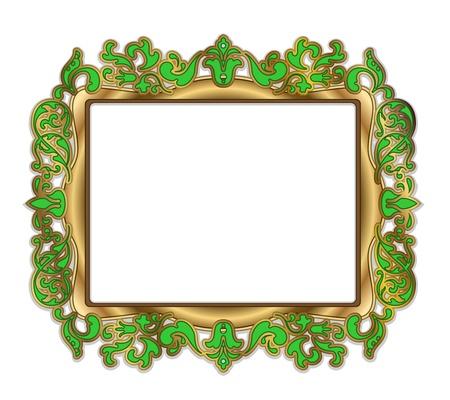 Goud groen kader op een witte achtergrond Stockfoto - 12813187