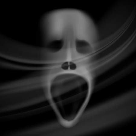 ghost face: Ghost face, blurred skull, horror background with shadows