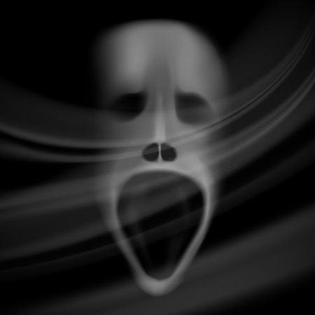 ghost face: Spirito faccia, cranio offuscata, sfondo horror con ombre