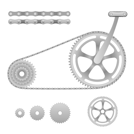 Illustration of chain transmission bicycle with pedal Vector