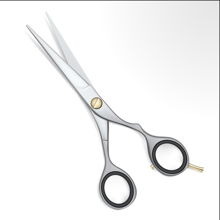 hair cut: Realistic steel scissors with gold detail on white Illustration