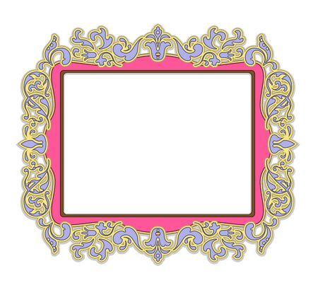 baroque picture frame: Frame for painting or picture in delicate pink