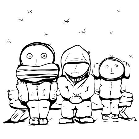 caricaturas de personas: Tres personas están tratando de mantener caliente Repita la postura tres monos Vectores