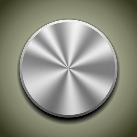 Realistic metal button with circular processing, cone reflection Vector
