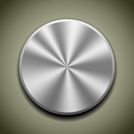 Realistische metalen knop met ronde verwerking, kegel reflectie